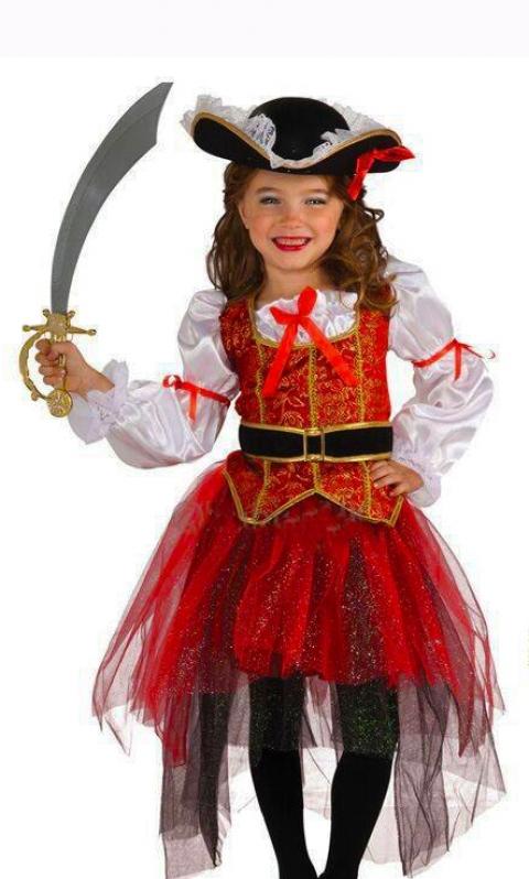 Fantasia Pirata Feminina Infantil Vila Guilherme - Fantasia de Pirata Preta e Dourada