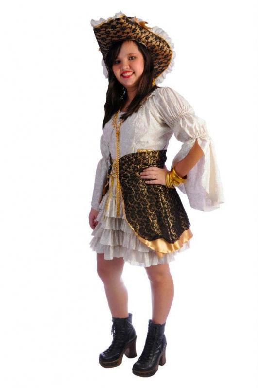 Fantasia Pirata Feminina Luxo Melhor Preço Aricanduva - Fantasia de Pirata Preta e Dourada