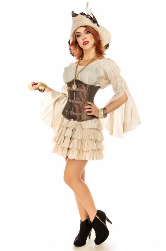 Fantasia Pirata Feminina Luxo Cabuçu - Fantasia de Pirata Preta e Dourada