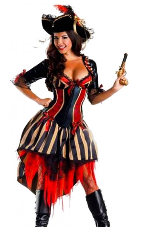 Locar Fantasia Pirata de Luxo Feminina Vila Curuçá - Fantasia de Pirata Preta e Dourada