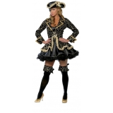 fantasia de pirata preta e dourada Lauzane Paulista