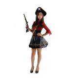 locar fantasia de pirata preta e dourada Vila Galvão